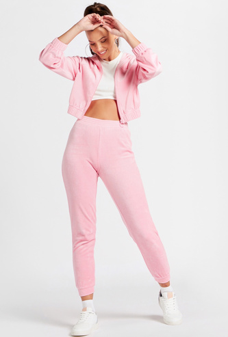 Towelling Full Length High-Rise Joggers with Elasticated Waistband