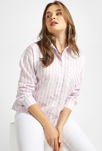 Striped Collared Shirt with Long Sleeves and Patch Pocket