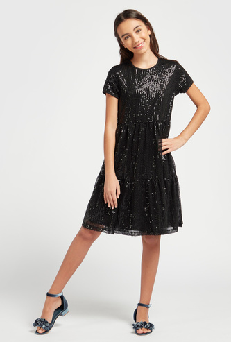 Sequin Embellished Dress with Round Neck and Short Sleeves