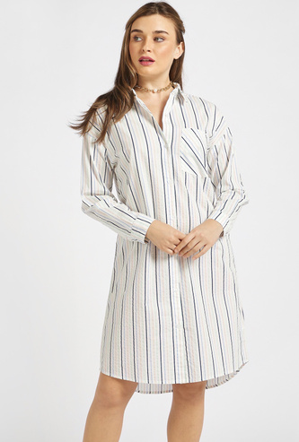 Striped Shirt Dress with Patch Pocket