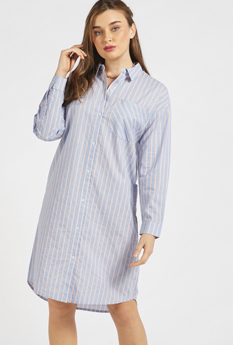 Striped Knee Length Shirt Dress with Long Sleeves and Patch Pocket