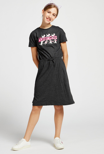 Aristocats Print Round Neck T-shirt Dress with Short Sleeves
