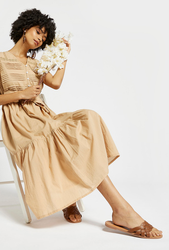 Solid Midi Tiered Dress with V-neck and Tie-Ups