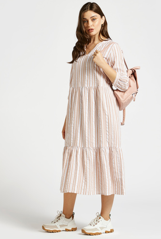 Striped Tiered Midi Dress with V-neck and 3/4 Sleeves