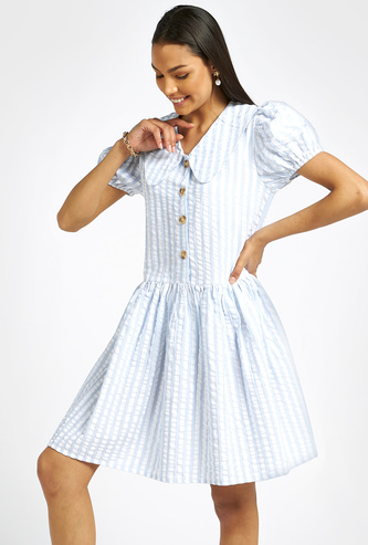 Striped Knee-Length A-line Dress with Peter Pan Collar and Puff Sleeve