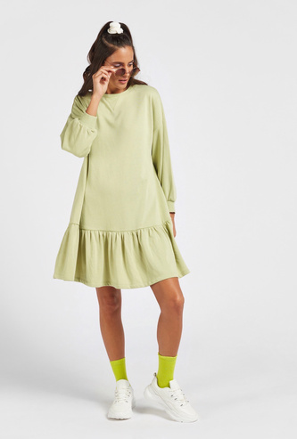 Solid Tiered Knee-Length Dress with Long Sleeves