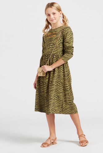 Animal Print Midi Dress with Long Sleeves