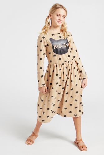 Cat Print Round Neck Midi Dress with Long Sleeves