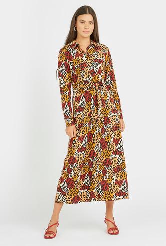 فستان إيه لاين ميدي بأكمام طويلة وأربطة وطبعات