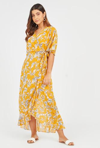 Floral Print Maxi A-line Wrap Dress with Tie Ups