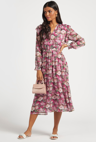 Floral Print A-line Midi Dress with Ruffle Detail and Long Sleeves