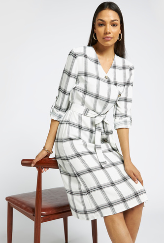 Checked Midi A-line Dress with Long Sleeves