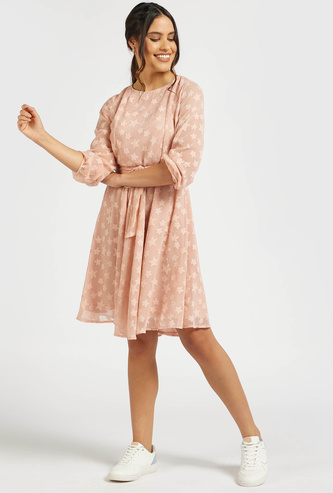 Star Applique Detail A-line Dress with Long Sleeves and Tie-Ups