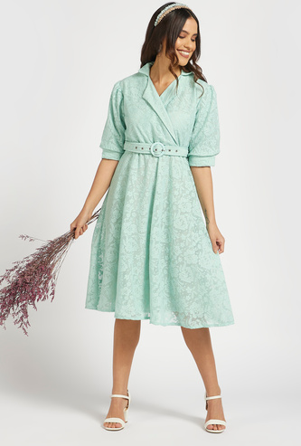 Lace Detail Knee Length A-line Dress with Belt