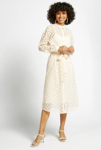 Polka Dot Print Midi Shirt Dress with Long Sleeves and Tie-Ups