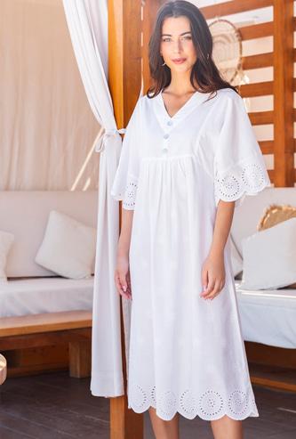 Schiffli Detail Midi A-line Dress with Short Sleeves