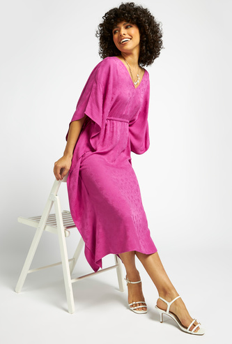All-Over Print Midi A-line Kimono Dress with Extended Sleeves