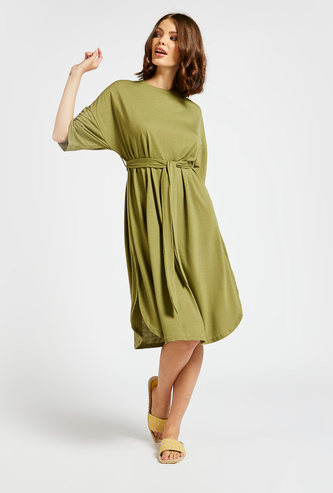 Solid A-line Midi Dress with 3/4 Sleeves and Tie-Ups