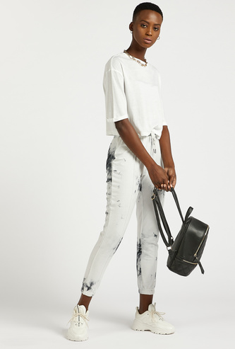 Tie Dye Print Ankle Length Jogger with Drawstring Closure