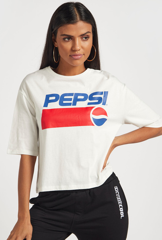 Pepsi Graphic Print Boxy T-shirt with Crew Neck and Short Sleeves