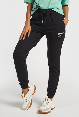 Solid Joggers with Pockets and Elasticated Drawstring Waist