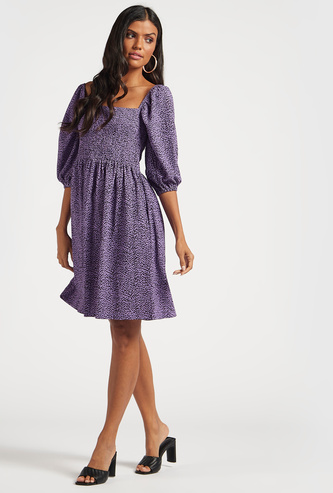 All-Over Print A-line Dress with Square Neck and 3/4 Sleeves