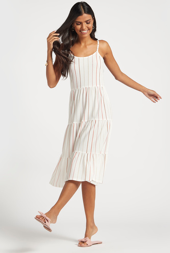 Striped Midi Sleeveless Tiered Dress with Adjustable Straps