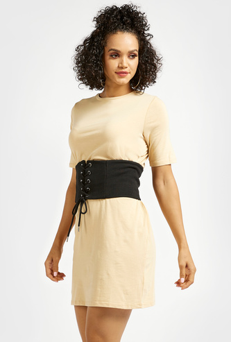 Solid Mini T-shirt Dress with Corset