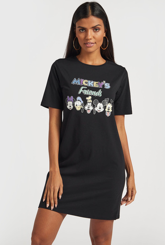 Mickey Mouse Knee Length Round Neck T-shirt Dress with Short Sleeves