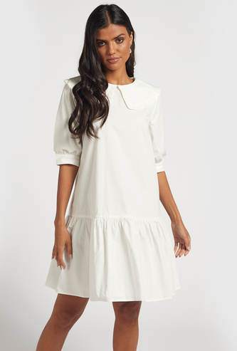 Solid Poplin A-line Dress with Peter Pan Collar and 3/4 Sleeves