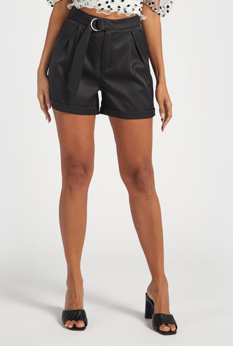 Solid Cropped Shorts with Pockets and Inverted Pleats