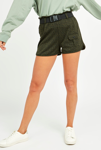 Printed Mid-Rise Shorts with Pocket Detail and Belt