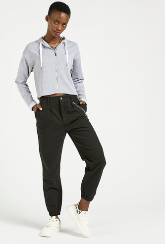 Solid High-Rise Jog Pants with Pocket Detail and Chain