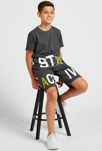 Slogan Print Round Neck T-shirt and Shorts Set
