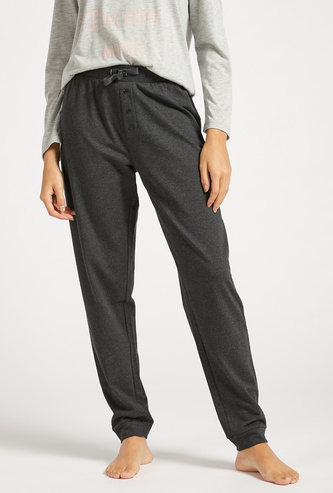 Solid Full Length Pyjamas with Drawstring Closure