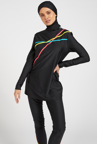 Stripe Detail Burkini with Head Cover and Long Sleeves
