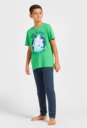 Avengers Graphic Print Round Neck T-shirt and Solid Pyjama Set