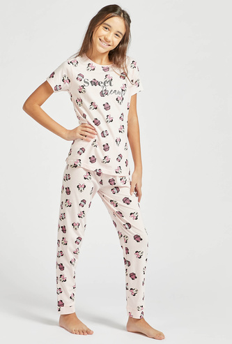 All-Over Minnie Mouse Print Short Sleeves T-shirt and Pyjama Set