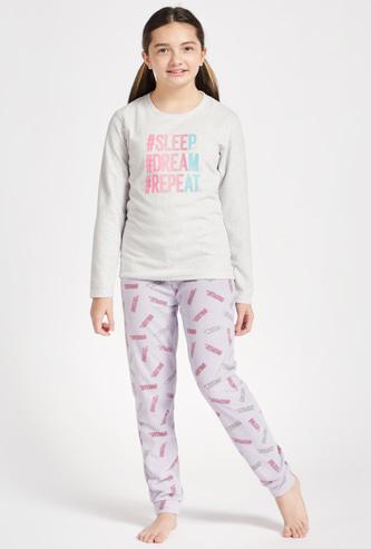 Set of 2 - Slogan Print T-shirt with Long Sleeves and All-Over Printed Pyjamas