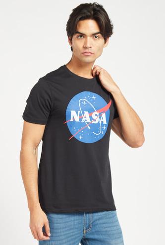 NASA Print Round Neck T-shirt with Short Sleeves