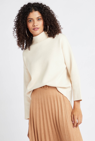 Solid High Neck Sweater with Long Sleeves