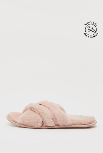 Plush Bedroom Slippers with Cross Straps