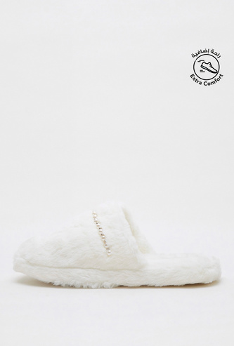 Textured Slip-On Slide Slippers with Pearl Accent