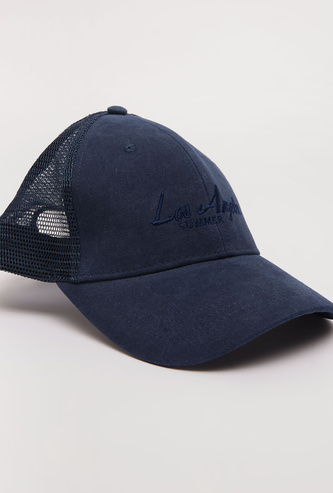 Embroidered Adjustable Cap with Mesh Detail