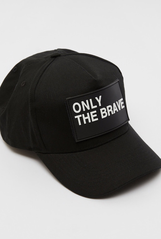 Slogan Print Cap with Embroidered Eyelets