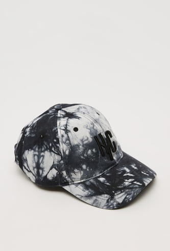 Text Embroidered Tie-Dyed Cap with Hook and Loop Closure