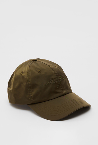 Text Embroidered Cap with Hook and Loop Closure