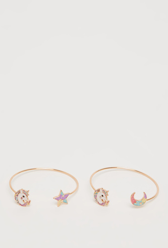 Set of 2 - Cuff Bracelet with Rainbow Accents