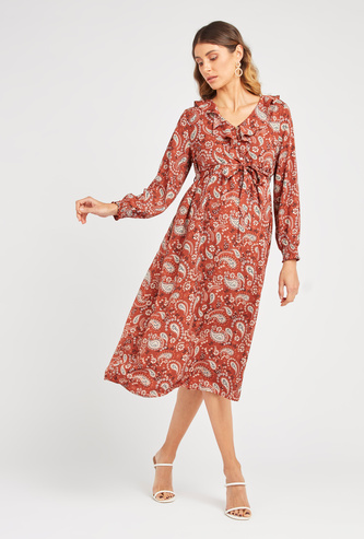 Printed Maternity Midi A-Line Dress with Long Sleeves and Tie Ups