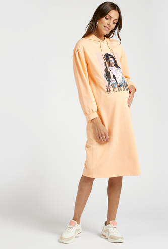 Graphic Print Maternity Sweatshirt Dress with Long Sleeves and Hoodie